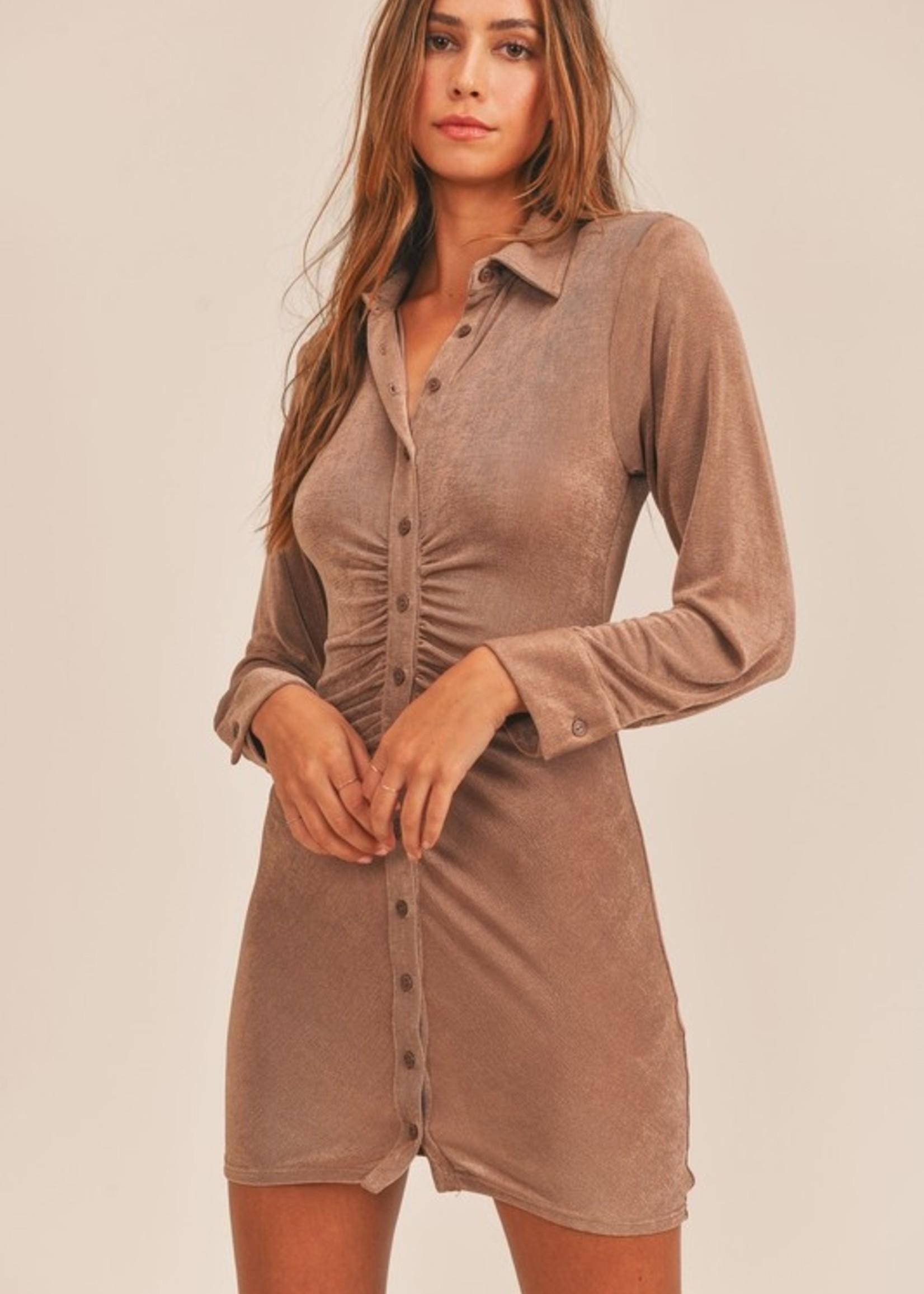 Slinky button down dress