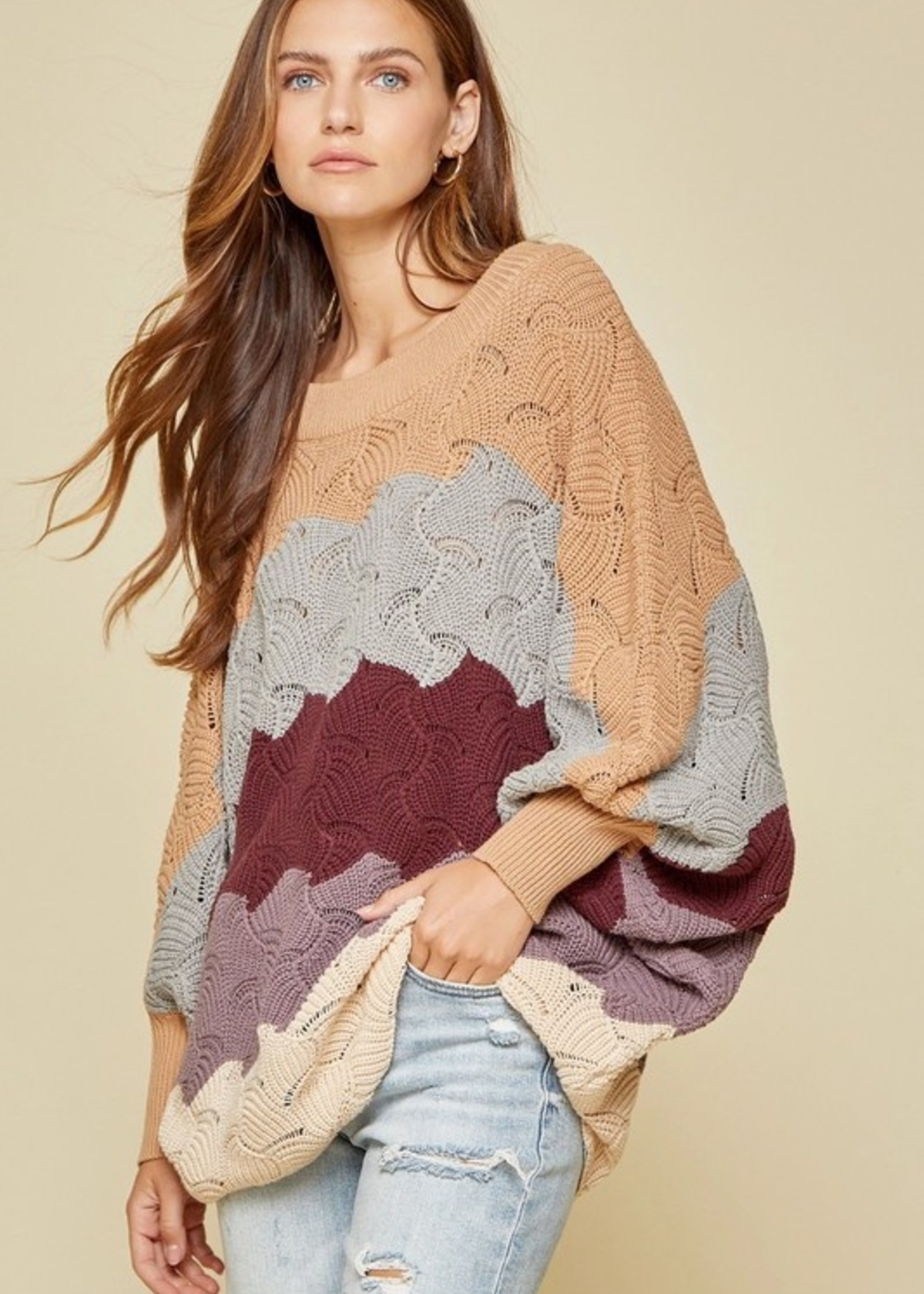 Wave print sweater