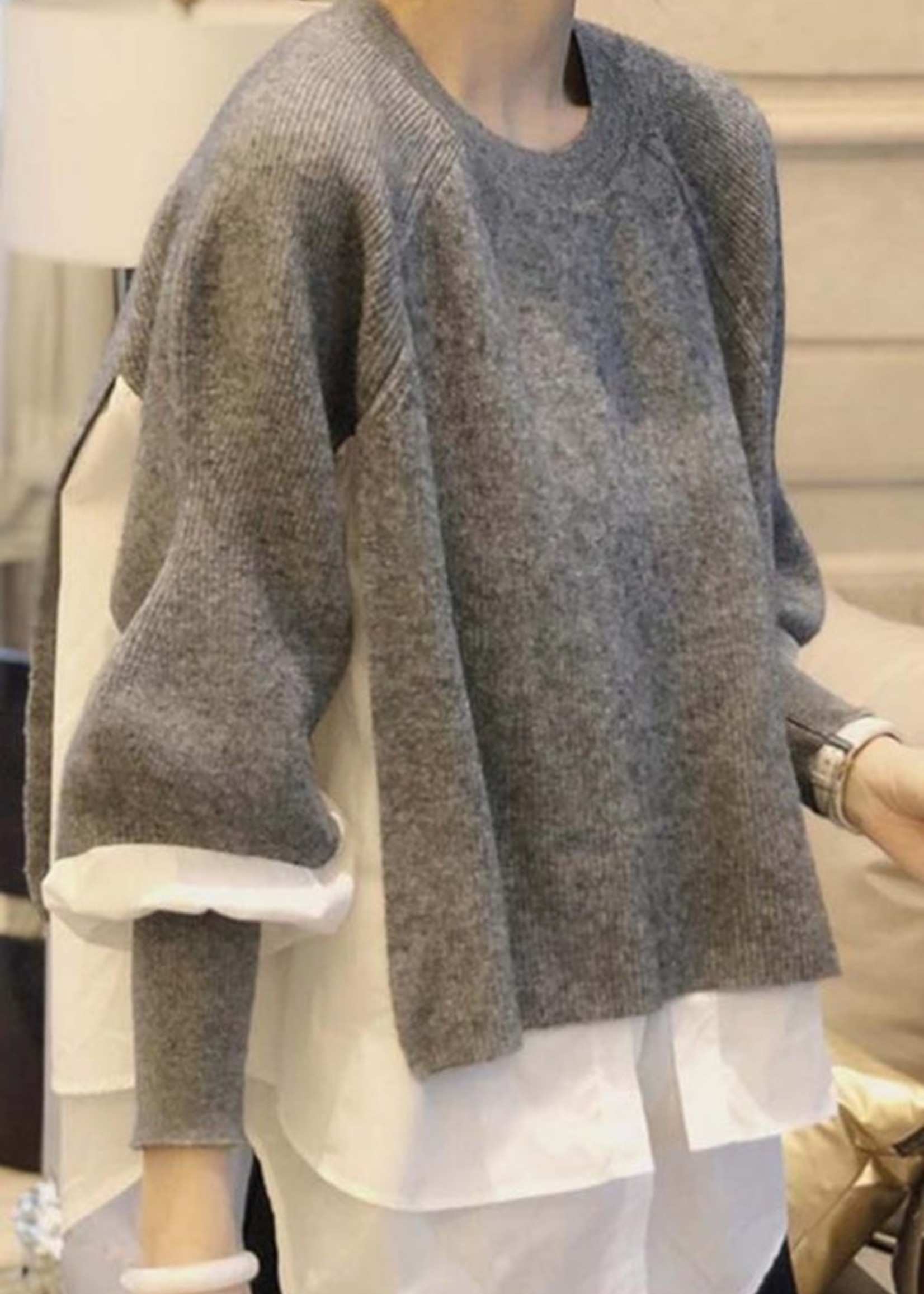 Sweater mixed with poplin