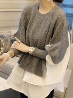 Sweater mixed with poplin +3 colors