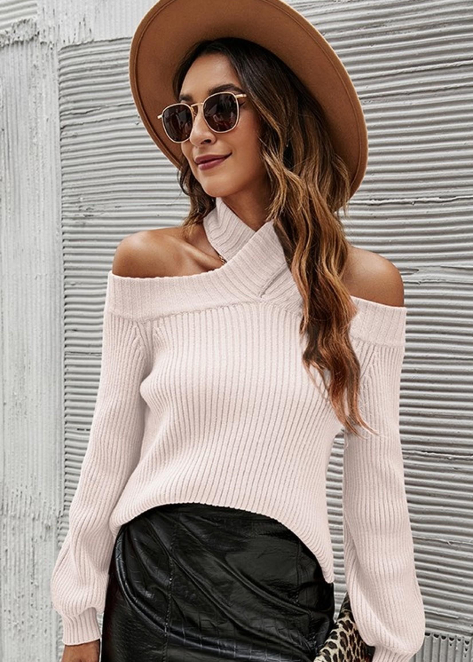 Cross neck knit top