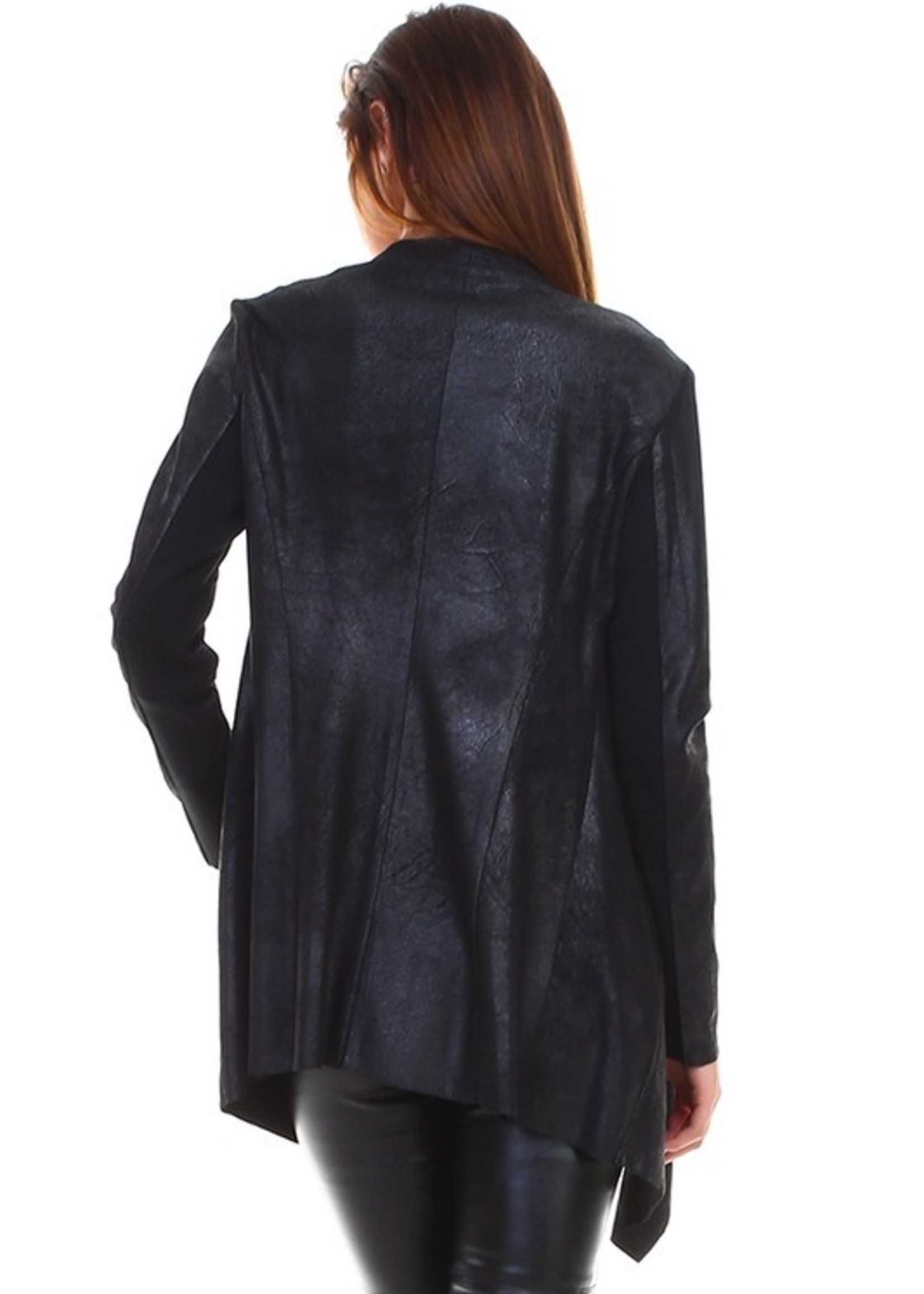 Leather open cardigan