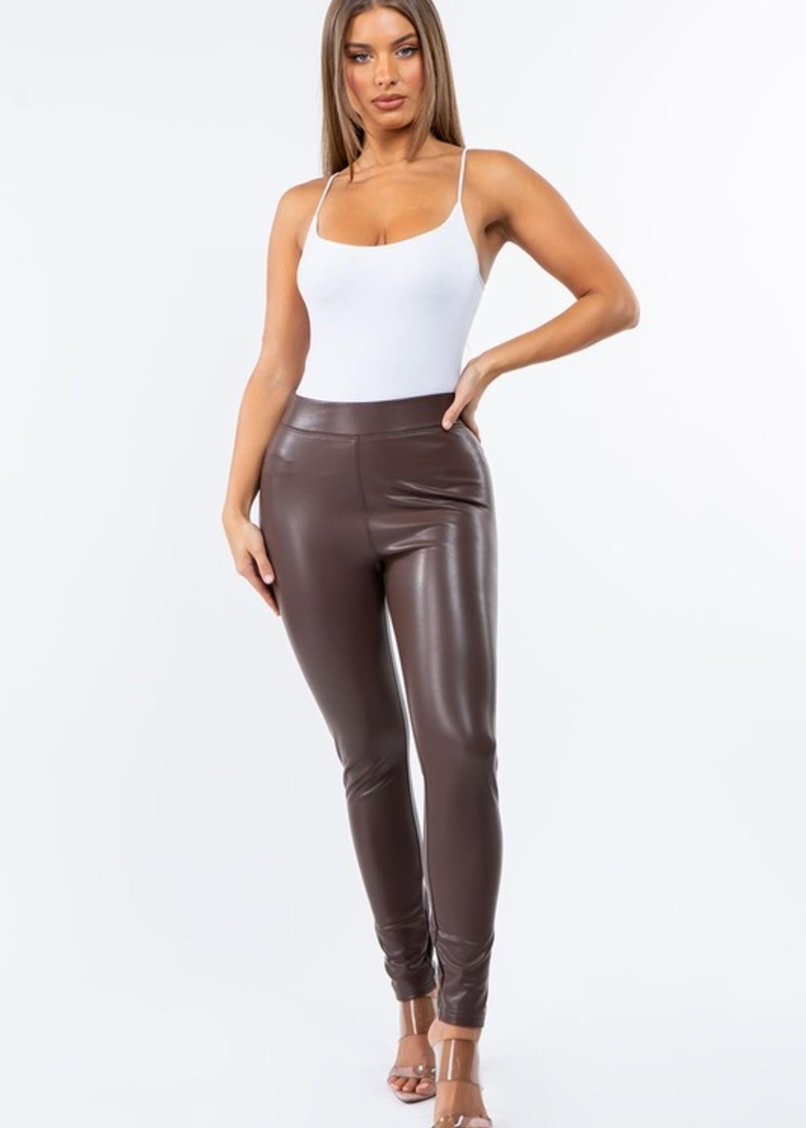 High rise leather legging