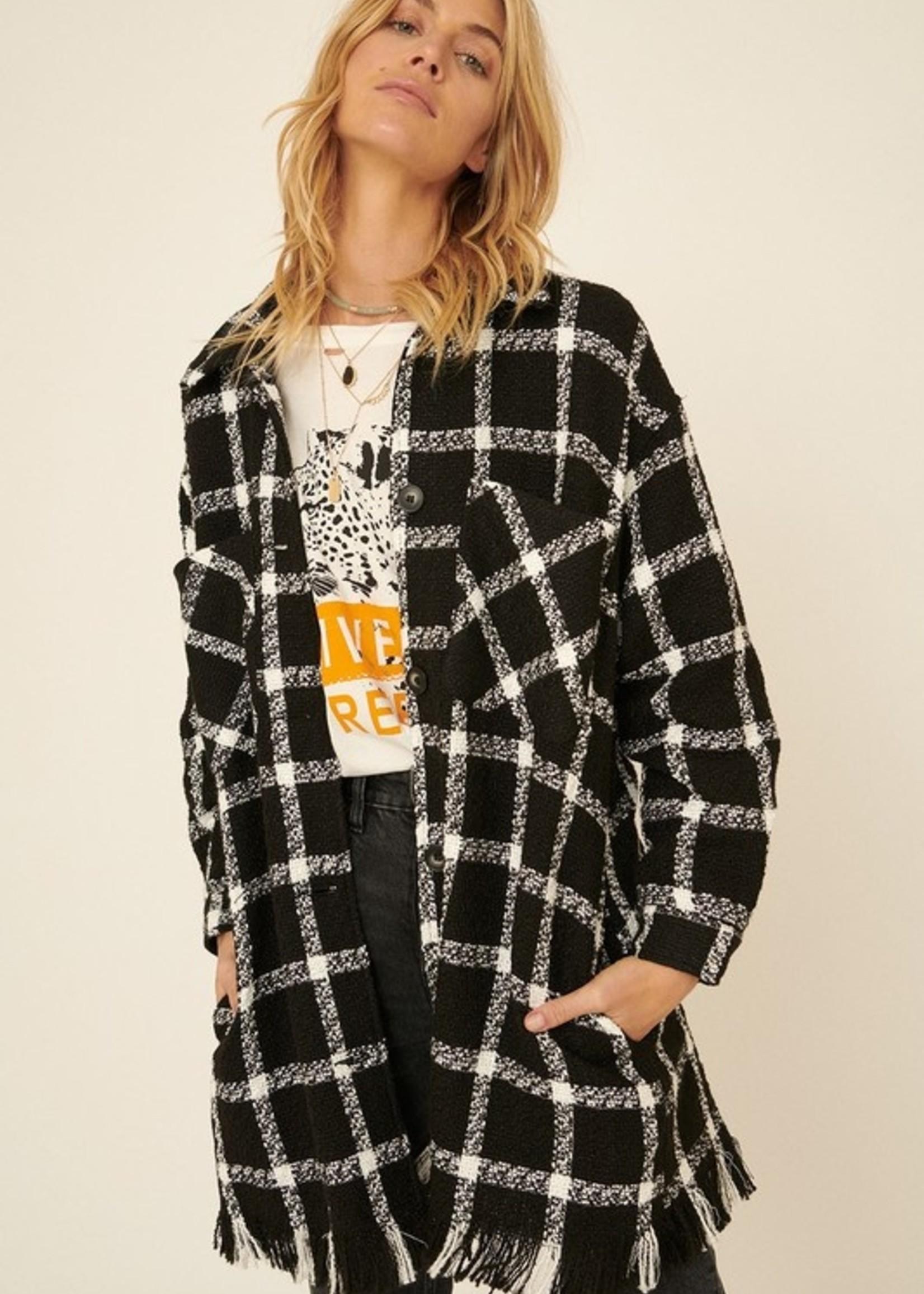 Plaid fringe jacket
