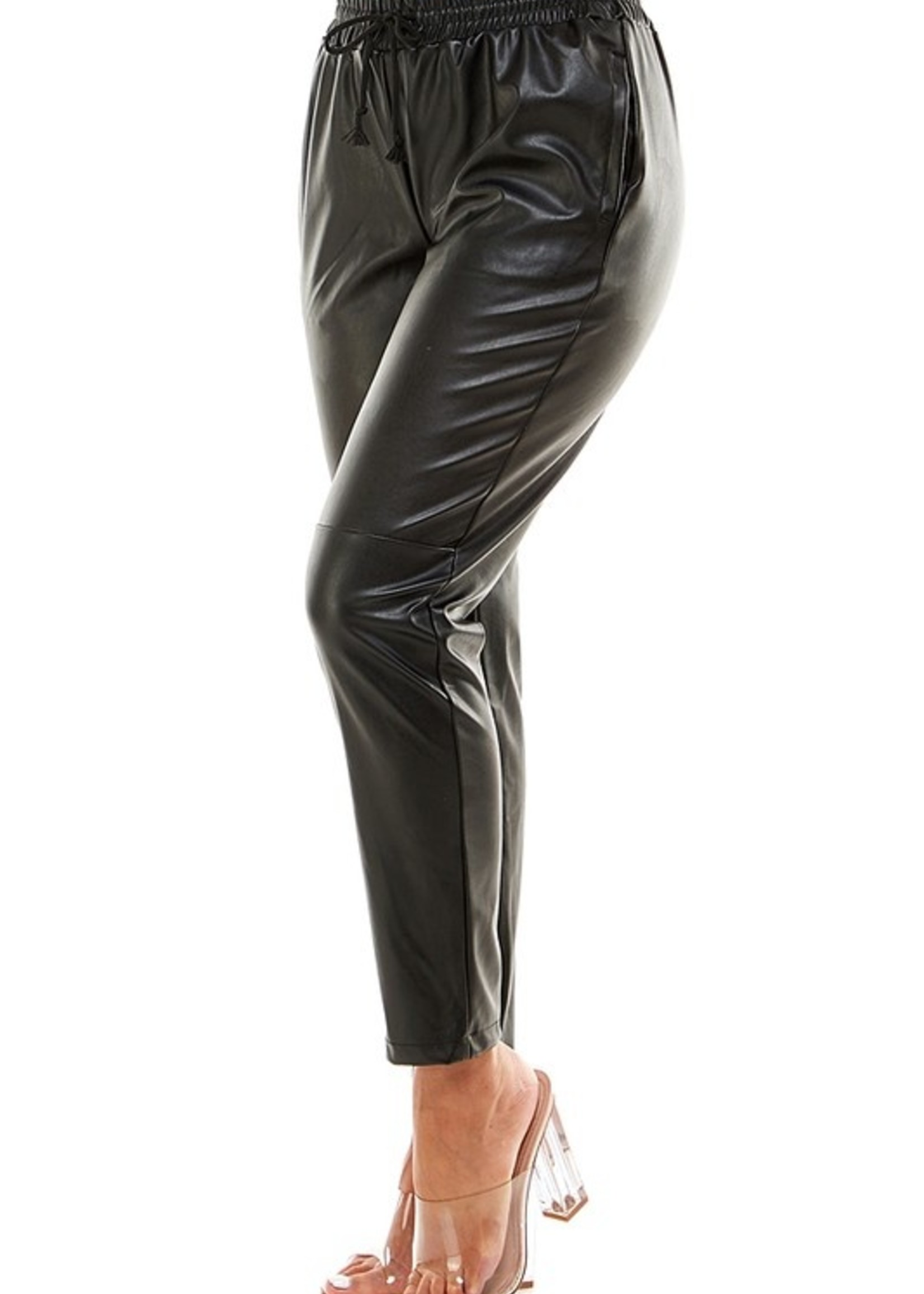 Faux leather jogger