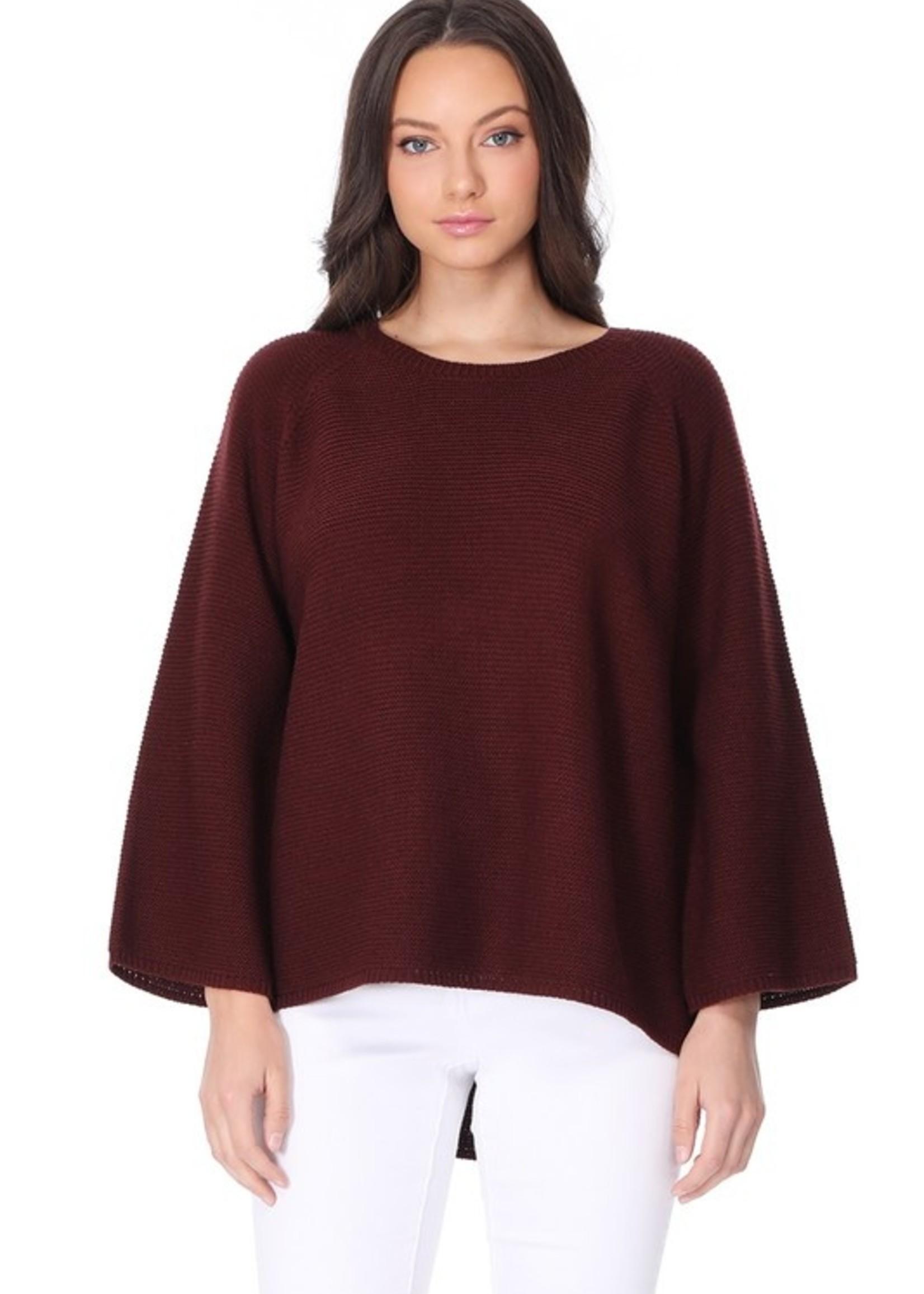 Rib bell sleeve sweater