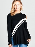Stripe tie side sweater +2 colors