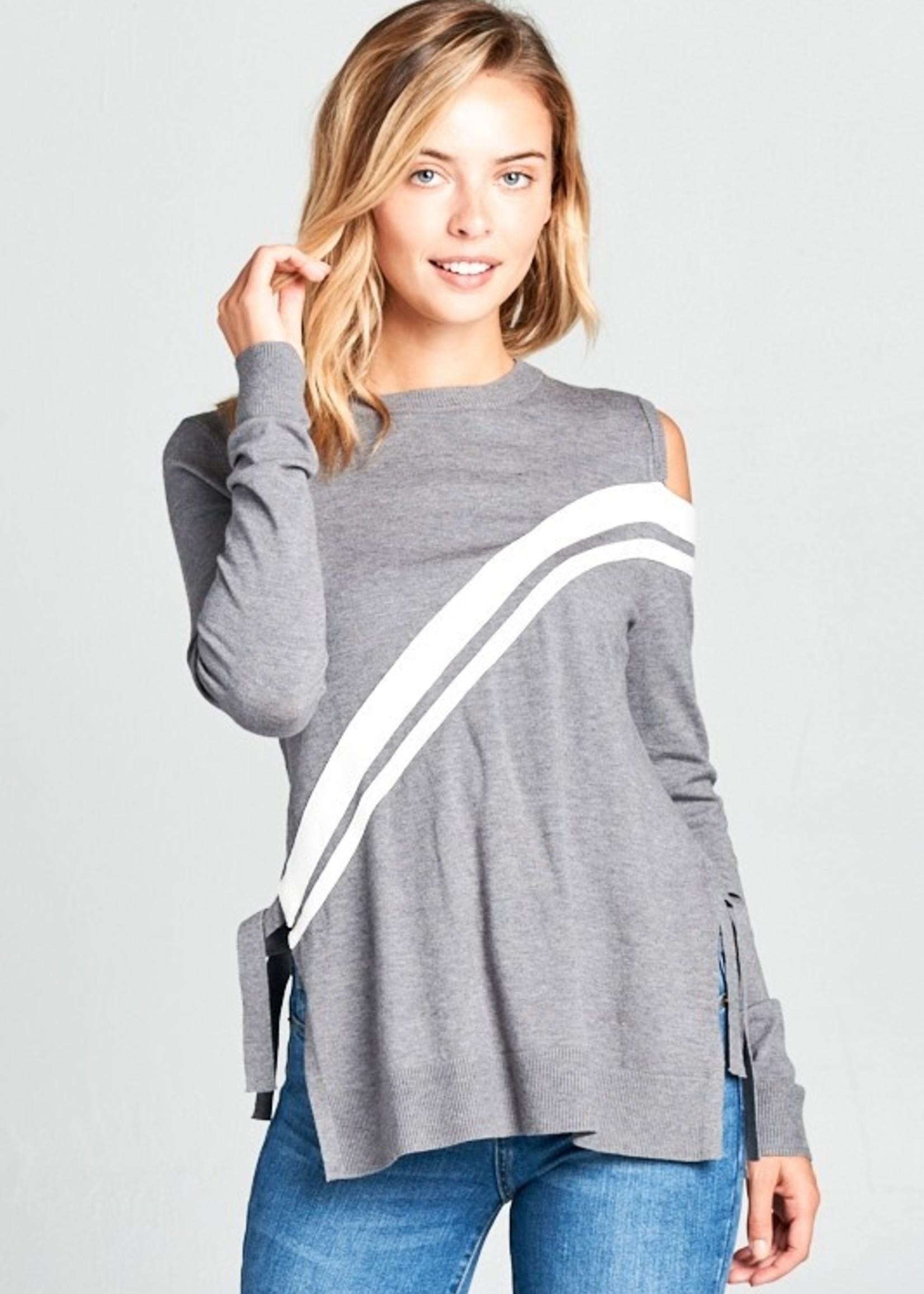 Stripe tie side sweater