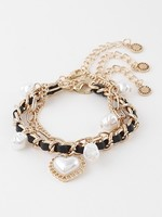 Leather and pearl bracelet set