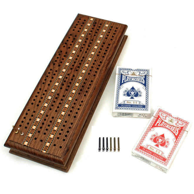 Cabinet Cribbage Set: Solid Oak with Metal Pegs