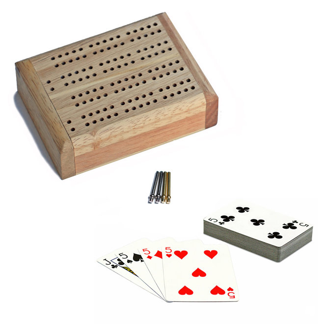 Mini Travel Cribbage Set: Solid Wood with Metal Pegs