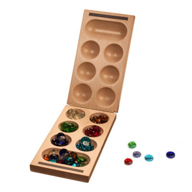 Folding Mancala Game: Solid Wood & Glass Stones