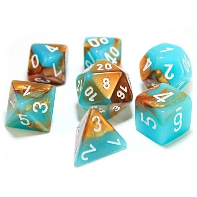 Lab Dice: Luminary Gemini - Copper, Turquoise, & White