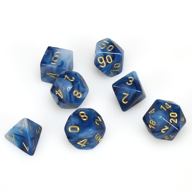 Chessex RPG Dice: Poly Phantom - Teal/Gold (7)