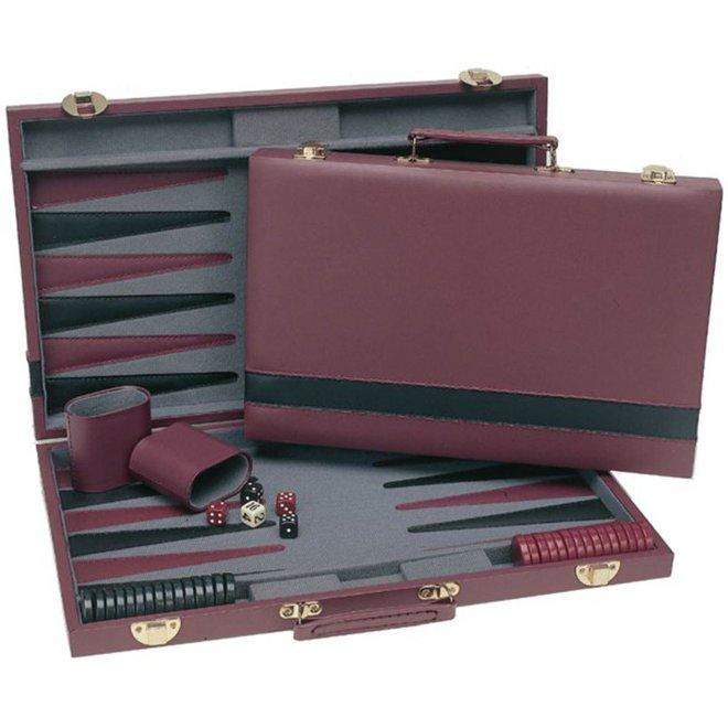 Burgundy Backgammon Set - 15 Inch