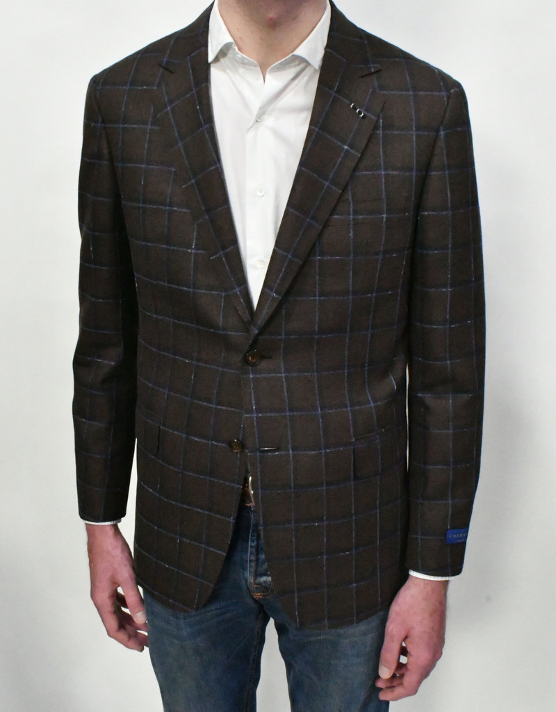 Castangia Castangia Brown With Blue Windowpane Sport Coat