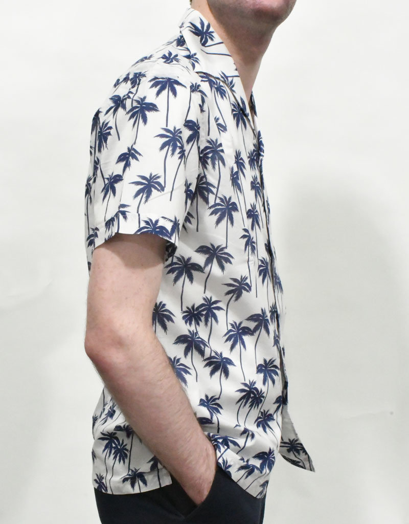 Lardini Lardini Eigian Navy Palms SS Sport Shirt