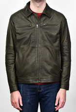 Liles Bespoke Reversible Leather Bomber Jacket Olive/Navy