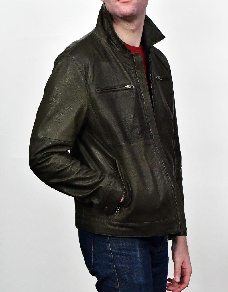 Liles Bespoke Liles Bespoke Reversible Leather Bomber Jacket Olive/Navy