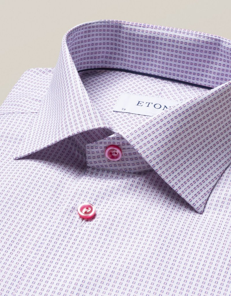 Eton Eton Contemporary Fit Pink Squares
