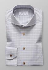 Eton Eton Slim Fit Dress Shirt Blue/Brown Check