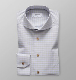 Eton Eton Slim Fit Dress Shirt Blue/Brown Check