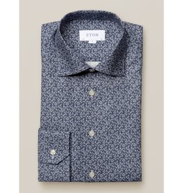 Eton Eton Contemporary Fit Dress Shirt Navy Leaf Print
