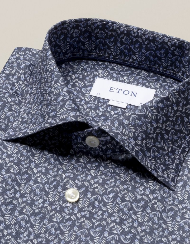 Eton Eton Contemporary Fit Dress Shirt Navy Leaf Print