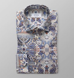 Eton Eton Contemporary Fit Dress Shirt Blue/Orange Pattern