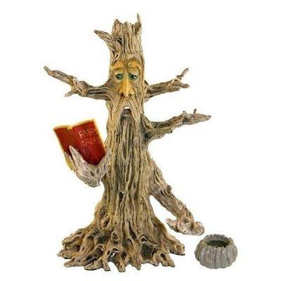 """INCENSE BURNER 11"""" UPRIGHT POET TREE MAN STICK & BOOK  DESIGN"""