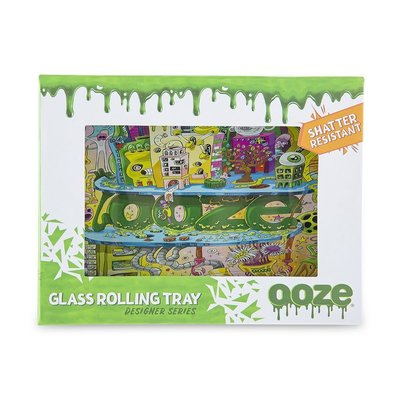 """OOZE OOZE ROLLING TRAY SHATTER RESISTANT GLASS SMALL 6.30"""" X 4.75"""""""