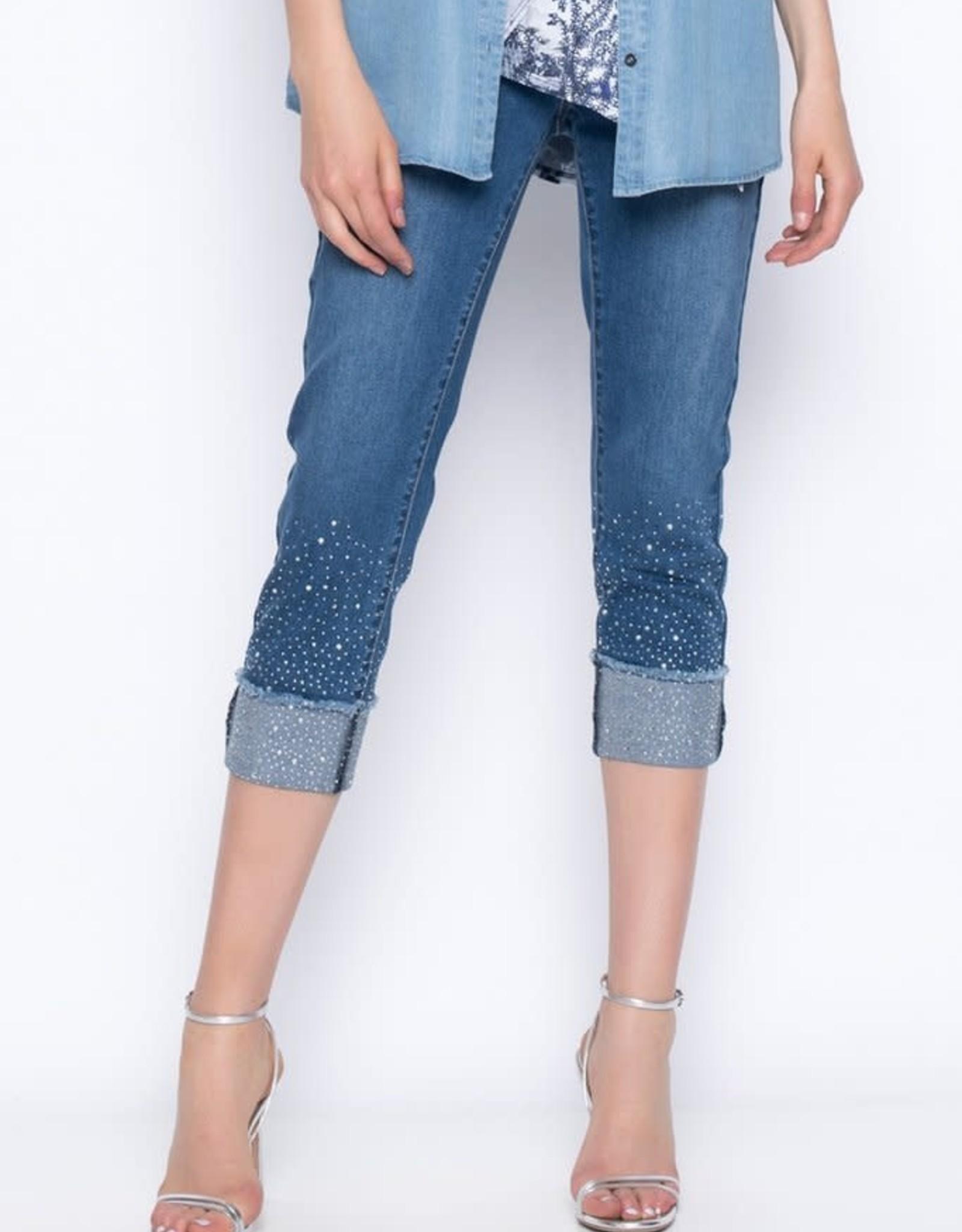 Embellished Cropped Denim Pants