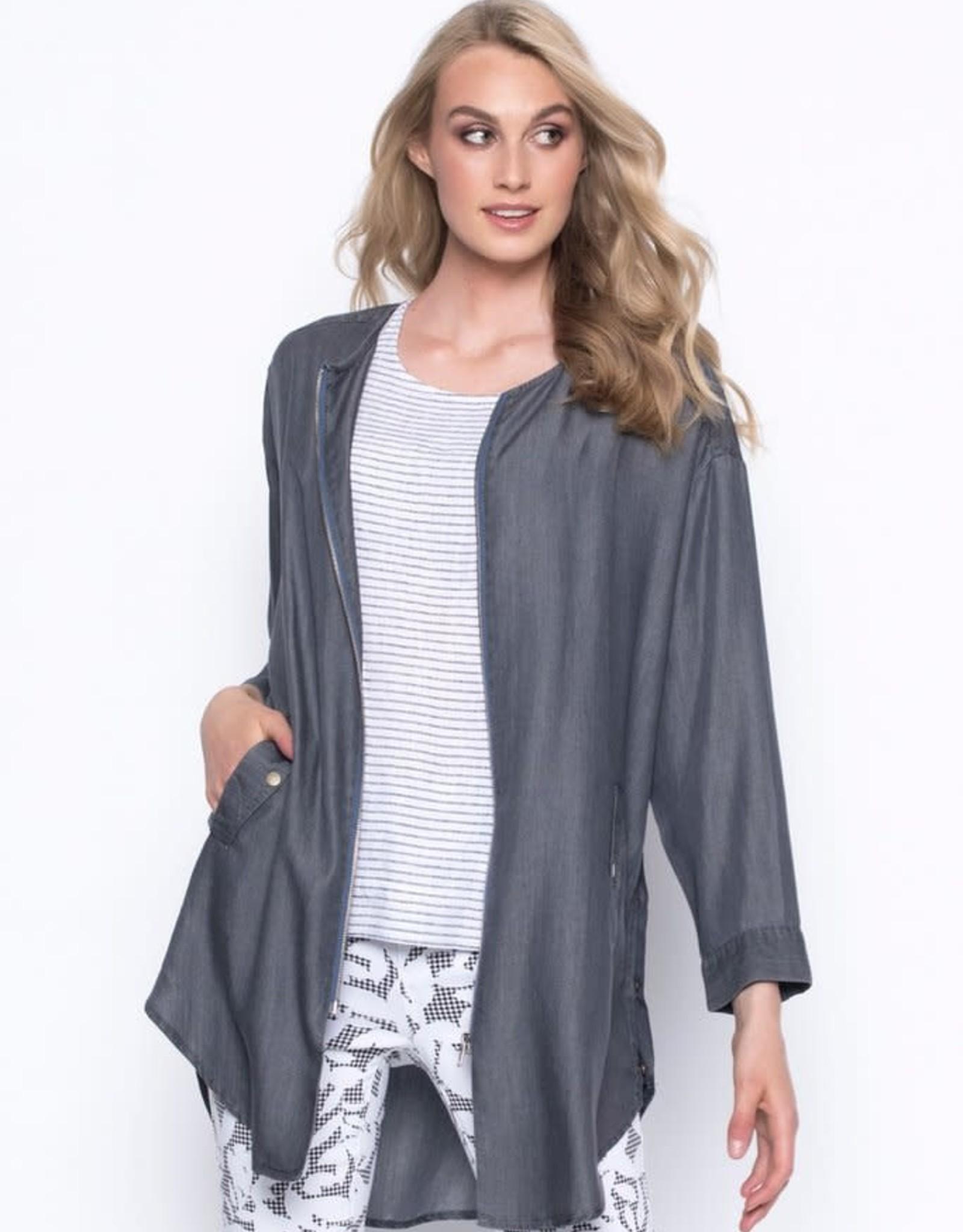 Zip-Front Long Jacket