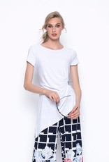 Short Sleeve Gathered Top With Buckle
