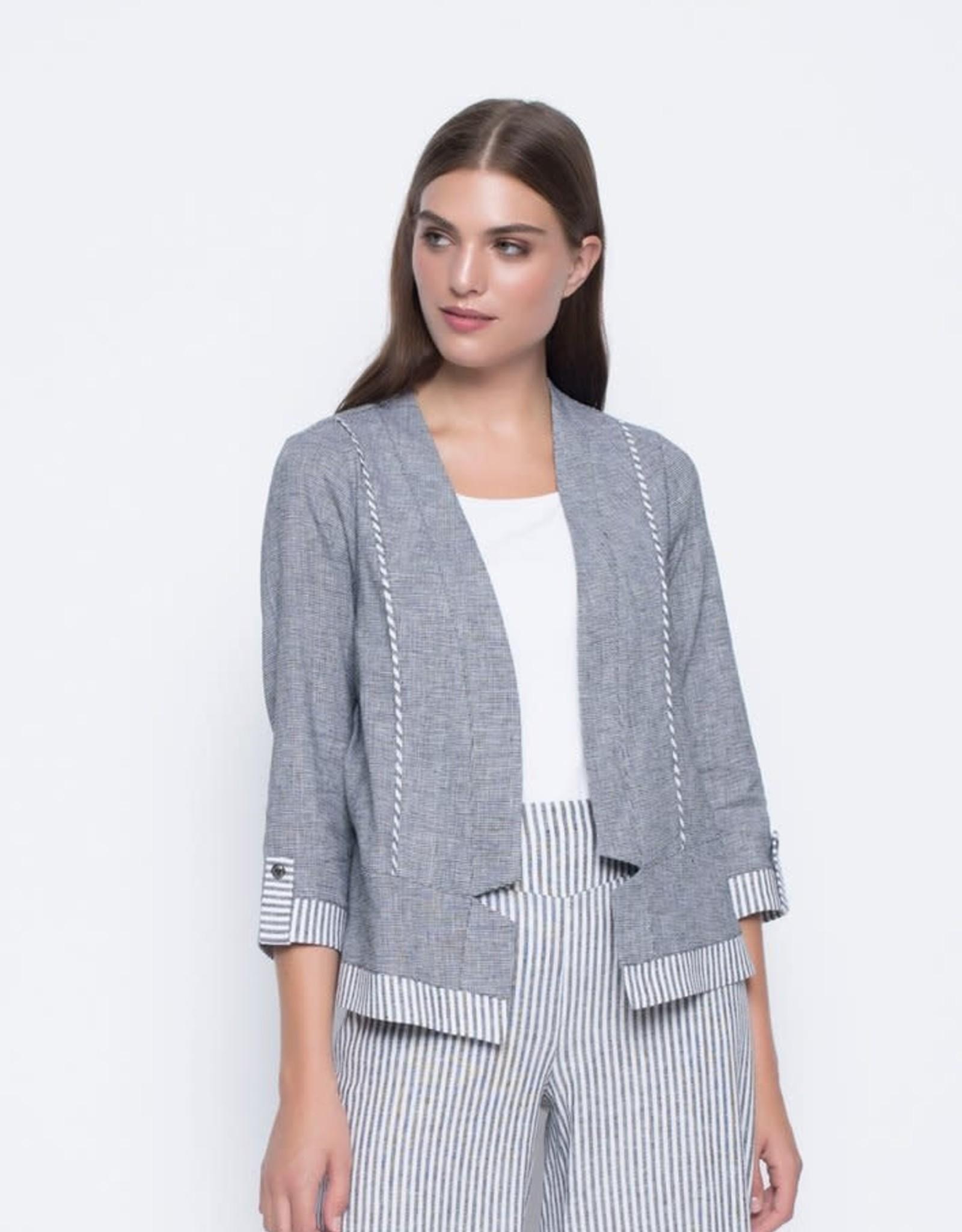 ¾ Sleeve Stripe Trimmed Jacket