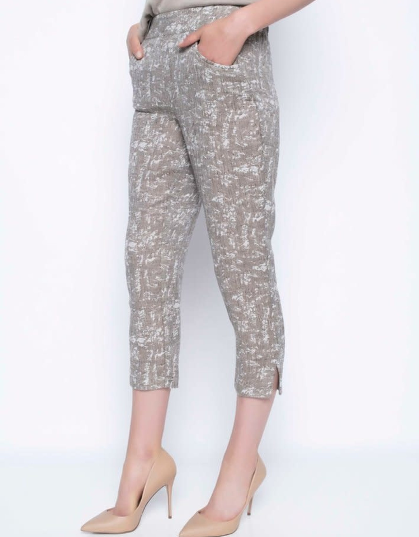 Pull-On Cropped Pants With Button Detail
