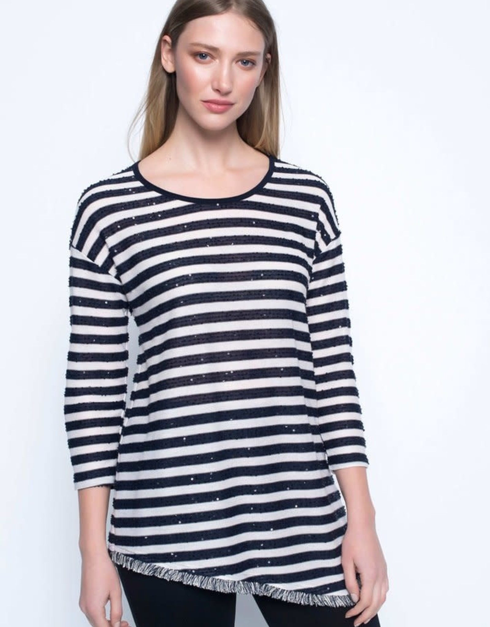 Three Quarter Sleeve Asymmetrical Hem Tunic