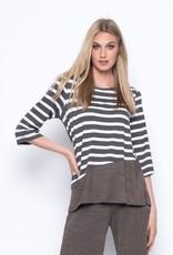¾ Sleeve Solid Trim Stripe Top
