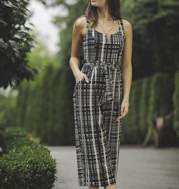 V-neck Check Jumpsuit