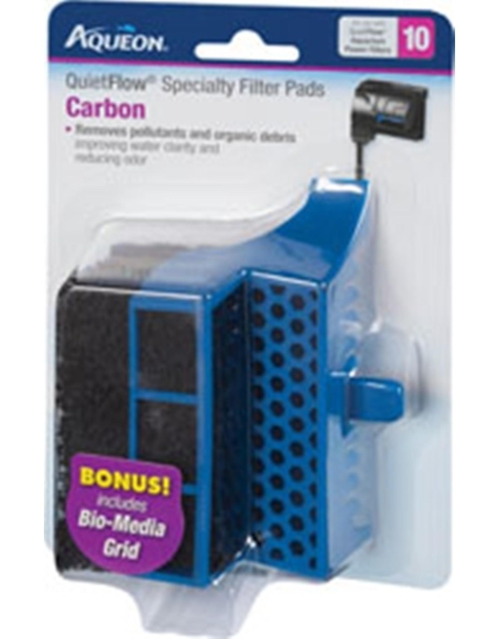 Aqueon AQUEON Specialty Filter Pad Carbon Cartridge w/ Biomedia grid Quietflow 10