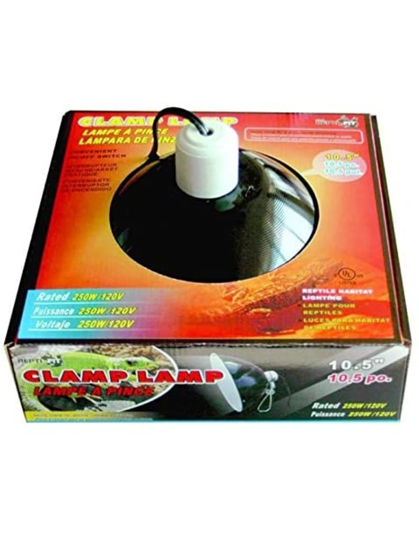 REPTI-FIT Black Dome Clamp Lamp