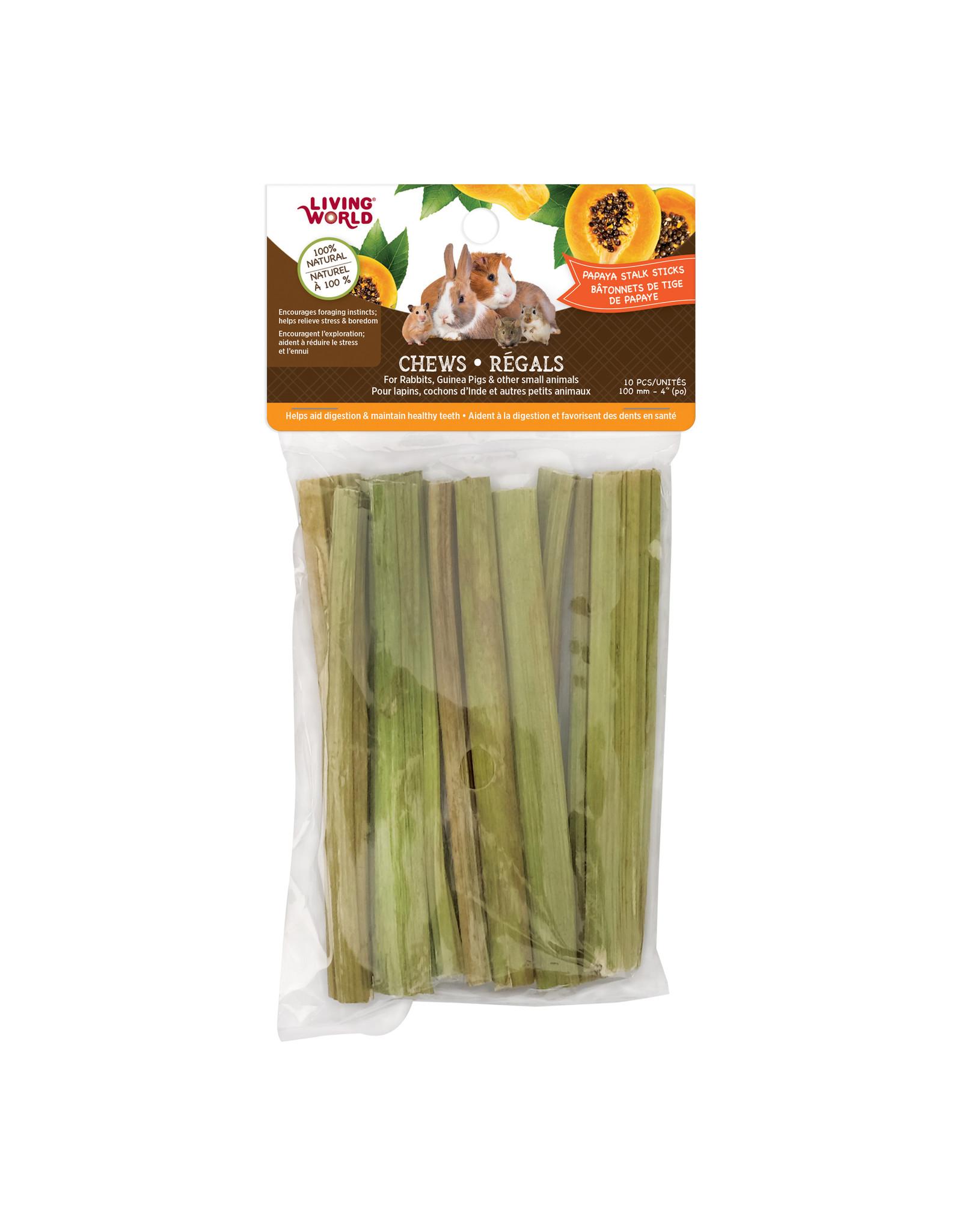 "Living World LIVING WORLD Small Animal Chews Papaya Stalk Sticks 4"" x 10pc"