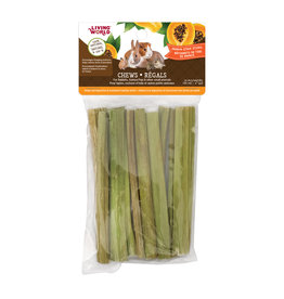 "Living World LIVING WORLD Small Animal Chews Papaya Stalk Sticks 4"" x 10pc"