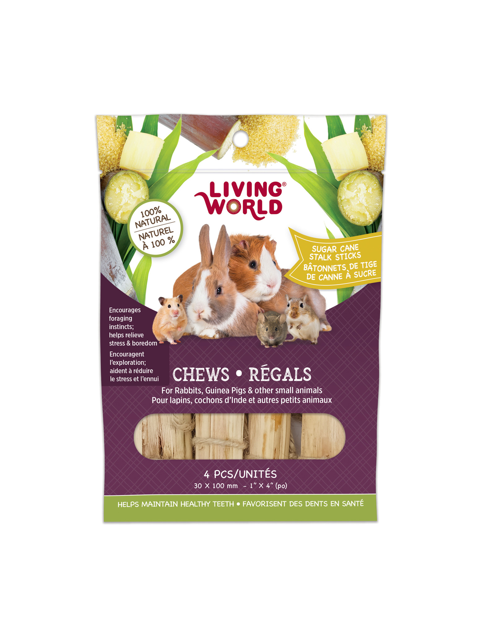 "Living World LIVING WORLD Small Animal Chews Sugar Cane Stalk Sticks 4""x 4pc"