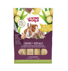 "Living World LIVING WORLD Small Animal Chews Sugar Cane Stalk Sticks 4""x 4pc"