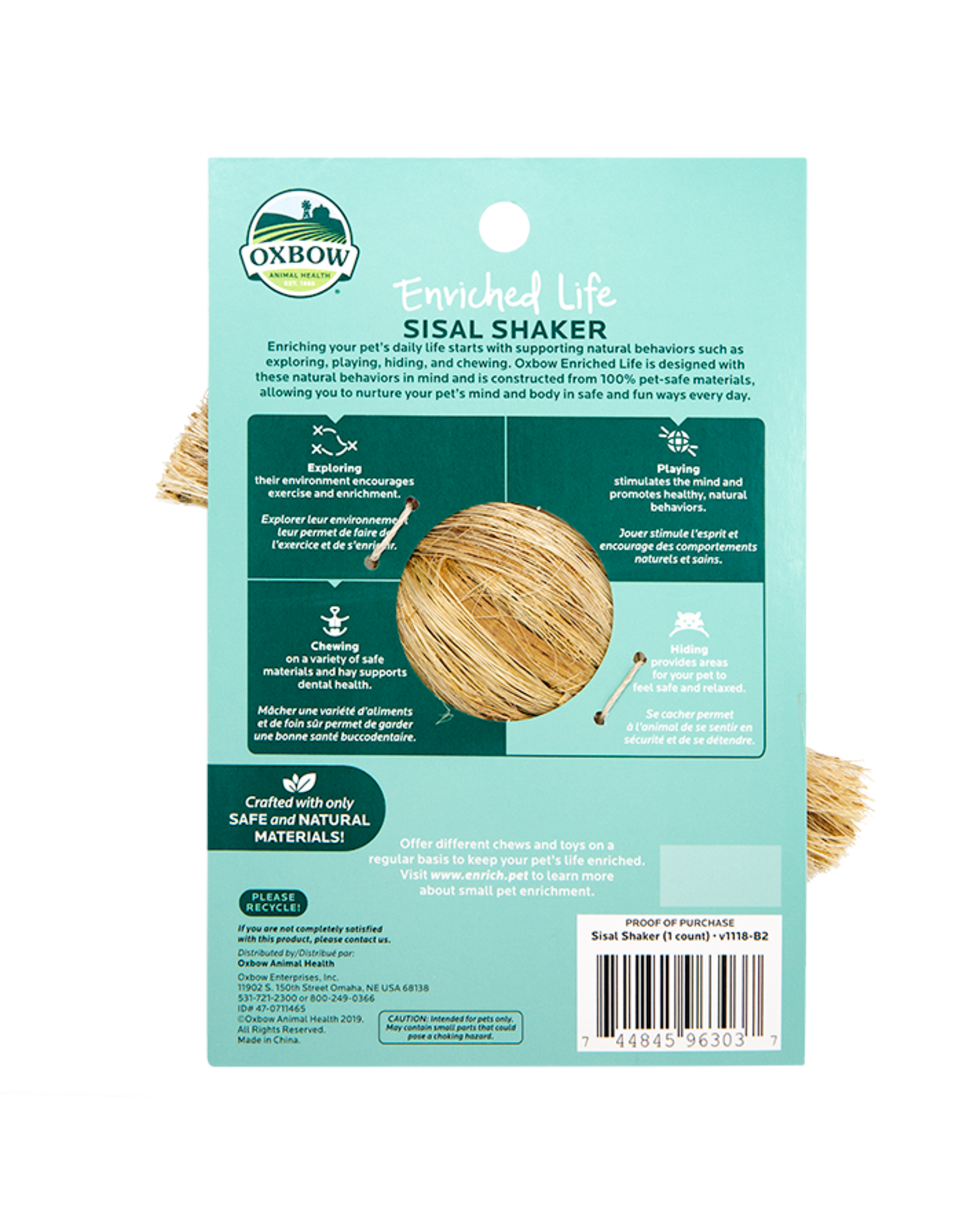 Oxbow OXBOW Enriched Life Sisal Shaker Natural Chew 6.5' Length