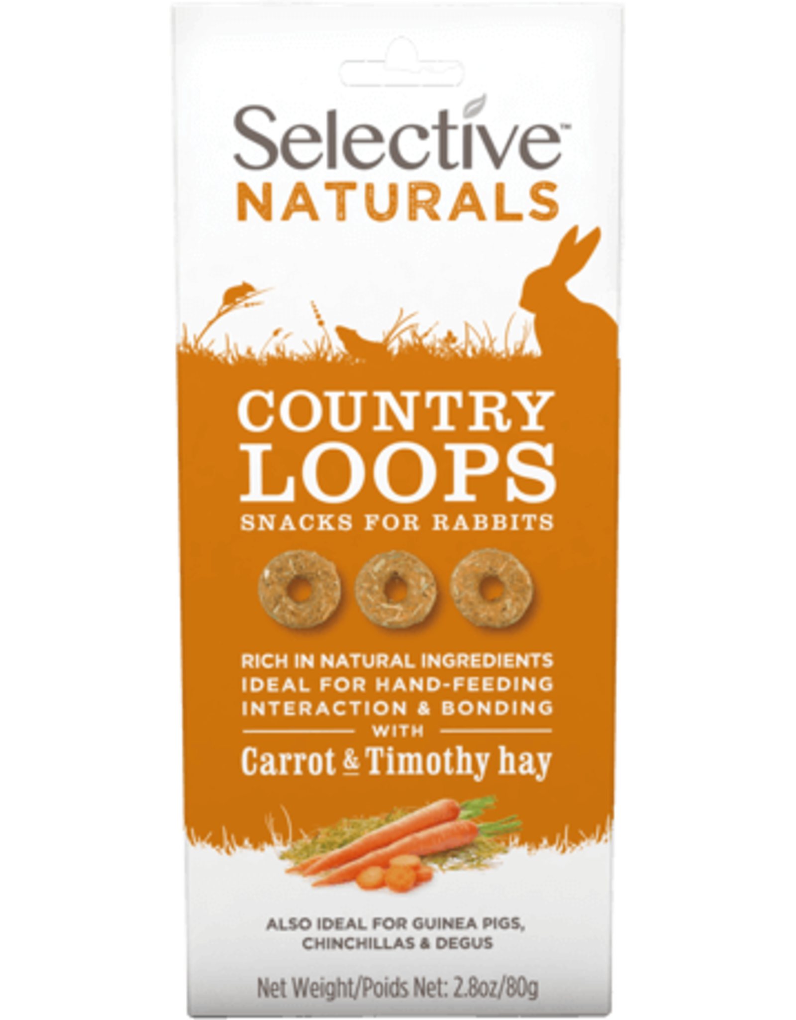 Supreme Pet Foods SELECTIVE NATURALS Country Loops Rabbit Treats Carrot & Timmothy Hay