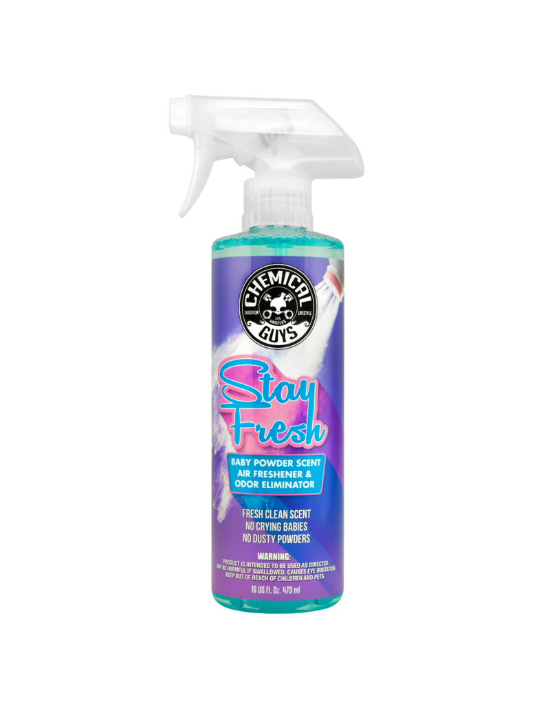 Chemical Guys Stay Fresh Baby Powder Scented Air Freshener & Odor Eliminator (16oz)