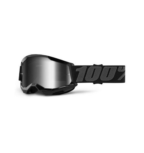 100% STRATA 2 Youth Black, Mirror Silver Lens