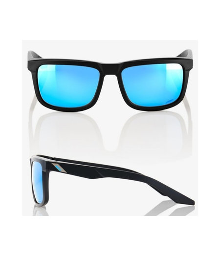 100% Blake Matt Black Sunglasses Hiper Blue Mirror Lens